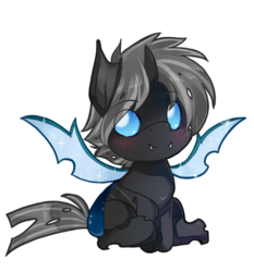 Size: 500x537   Tagged: safe, artist:loyaldis, oc, oc only, oc:imago, changeling, blue eyes, changeling oc, chibi, cute, fangs, female, grey hair, pagedoll, simple background, smiling, sparkles, transparent background, wings