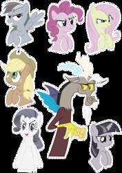 Size: 2067x2923 | Tagged: safe, artist:oceanbreezebrony, applejack, discord, fluttershy, pinkie pie, rainbow dash, rarity, twilight sparkle, draconequus, earth pony, pegasus, pony, unicorn, discorded, discorded twilight, flutterbitch, greedity, liar face, liarjack, mane six, meanie pie, rainbow ditch, show accurate, simple background, sticker, transparent background, unicorn twilight