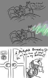 Size: 739x1185 | Tagged: alicorn, artist:jargon scott, aurora borealis, bed, bedroom, celestia is not amused, comic, dialogue, duo, female, hat, laughing, mare, nightcap, pbbbt, pfft, pony, princess celestia, princess luna, raspberry, royal sisters, safe, sisterly rivalry, sleeping, speech bubble, steamed hams, the simpsons, tongue out, unamused