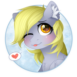 Size: 1500x1500 | Tagged: safe, artist:rizzych, artist:vird-gi, derpy hooves, :p, collaboration, ear fluff, heart, looking at you, one eye closed, silly, simple background, solo, tongue out, transparent background, wink