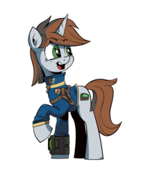 Size: 1950x2400   Tagged: safe, artist:iiapiiiubbiu, oc, oc only, oc:littlepip, pony, unicorn, fallout equestria, clothes, cutie mark, fanfic, fanfic art, female, gun, handgun, hooves, horn, little macintosh, looking back, mare, open mouth, optical sight, pipbuck, raised hoof, revolver, scope, simple background, solo, teeth, transparent background, vault suit, weapon