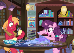 Size: 1072x775 | Tagged: abobo, artist:pixelkitties, battlecloud, battleship, big macintosh, book, bookshelf, call of cthulhu, dice, earth pony, female, gurps, lament configuration, male, mare, pony, safe, shipping, show accurate, stallion, star destroyer, star wars, straight, stratego, sugar belle, sugarmac, table, tabletop game, tie fighter, unicorn, x-wing, yu-gi-oh!