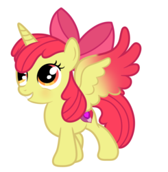 Size: 1192x1216 | Tagged: safe, artist:serathrix, apple bloom, alicorn, alicornified, bloomicorn, colored wings, colored wingtips, race swap, simple background, solo, transparent background