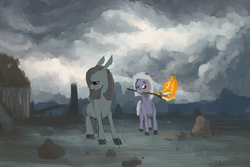 Size: 1200x800 | Tagged: safe, artist:celestiawept, limestone pie, marble pie, earth pony, pony, cloud, depressing, female, fire, mare, one eye closed, open mouth, painting, rock farm, sad