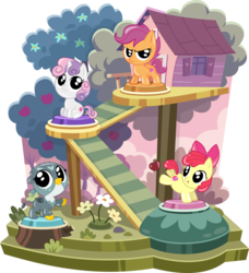 Size: 3868x4244 | Tagged: safe, artist:phucknuckl, apple bloom, gabby, scootaloo, sweetie belle, earth pony, griffon, pegasus, pony, unicorn, my little pocket ponies, adorabloom, apple, apple bloom's bow, apple tree, bow, cute, cutealoo, cutie mark, cutie mark crusaders, diasweetes, female, filly, flower, foal, fruit, gabbybetes, hair bow, looking at you, open mouth, pocket ponies, set, simple background, sitting, small wings, smiling, smiling at you, spread wings, the cmc's cutie marks, transparent background, tree, treehouse, wings