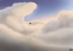 Size: 3600x2500 | Tagged: aircraft, artist:the-furry-railfan, cloud, cloudy, evening, flying machine, oc, oc:night strike, oc only, pegasus, plane, pony, safe, scenery, sunset