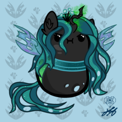 Size: 1280x1280 | Tagged: artist:stainedglasslighthea, bean pony, cute, female, :i, potato pony, queen chrysalis, safe, solo