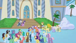 Size: 1366x768 | Tagged: alicorn, alpha beta, background pony, bits, cart, compass star, crowd, desert wind, dusty swift, fast break, fat stacks, fiery fricket, flam, flim, flim flam brothers, flowerescent, friendship university, frying pan (character), horseshoe comet, las pegasus, las pegasus resident, linky, lock heart, opulence, pony, rosy pearl, sad, safe, saturn (character), screencap, shoeshine, silver waves, sprout greenhoof, star swirl the bearded, sweet buzz, twilight sparkle, twilight sparkle (alicorn), wintergreen
