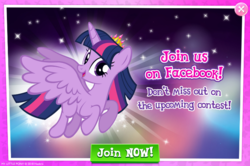 Size: 795x529 | Tagged: advertisement, alicorn, facebook, flying, gameloft, greedloft, happy, official, pun, safe, solo, sparkling, twilight sparkle, twilight sparkle (alicorn)