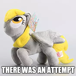 Size: 1017x1017 | Tagged: safe, artist:onlyfactory, editor:apex soundwave, derpy hooves, pegasus, pony, bootleg, deformed, fail, female, i just don't know what went wrong, image macro, irl, mare, meta, photo, plushie, tags, there was an attempt, toy