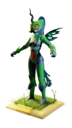 Size: 864x1536 | Tagged: safe, artist:evan555alpha, queen chrysalis, anthro, 3d, armor, blank expression, blender, bodysuit, boots, clothes, cuirass, cycles, cycles render, dandelion, fauld, front view, girdle, gloves, grass, helmet, mandibles, pauldron, peytral, plaque, ponytail, shoes, simple background, t pose, tail, tights, transparent background