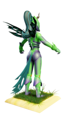 Size: 864x1536 | Tagged: safe, artist:evan555alpha, queen chrysalis, anthro, 3d, armor, blank expression, blender, bodysuit, boots, clothes, cuirass, cycles, cycles render, dandelion, fauld, girdle, gloves, grass, helmet, mandibles, pauldron, peytral, ponytail, rear view, shoes, simple background, t pose, tail, tights, transparent background