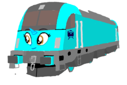 Size: 1080x720 | Tagged: safe, artist:dwayneflyer, artist:track&song, oc, oc only, oc:trackthesia, db br 182, face, horn, locomotive, requested art, siemens es64u2, simple background, train, transparent background, twitterponies