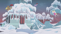 Size: 1440x811 | Tagged: background pony, clothes, compass star, female, flying, hearth's warming eve (episode), helmet, icicle, male, mare, pegasus, pegasus tribe, pony, safe, screencap, snow, spring melody, sprinkle medley, stallion