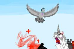 Size: 2400x1600 | Tagged: safe, artist:horsesplease, star swirl the bearded, stygian, bird, pigeon, shadow play, angry, birdified, cross-popping veins, crying, flying, medic, medigun, pun, random, sad, species swap, team fortress 2, yelling