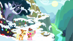 Size: 1440x811 | Tagged: safe, screencap, applejack, chancellor puddinghead, pinkie pie, smart cookie, earth pony, pony, hearth's warming eve (episode), cliff, clothes, duo, female, gem, gorge, hat, map, mare, mountain, river, ruff (clothing), snow