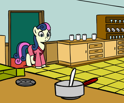 Size: 945x790 | Tagged: artist:megasweet, bathrobe, bon bon, bon bon is not amused, chocolate pudding, clopwork, clothes, cooking, crossover, earth pony, edit, female, food, glass, house, indoors, i've lost control of my life, kitchen, lost control of my life, making chocolate pudding, mare, meme, parody, plate, pony, pot, pudding, robe, rugrats, safe, secret, solo, stove, sweetie drops, unamused