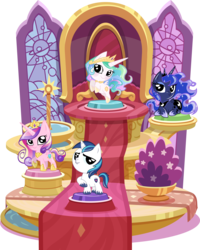Size: 3666x4584 | Tagged: safe, artist:phucknuckl, part of a set, princess cadance, princess celestia, princess luna, shining armor, alicorn, pony, unicorn, my little pocket ponies, bush, canterlot, canterlot castle, clothes, crown, cute, cutedance, cutelestia, female, flying, hoof on chest, hooves to the chest, inkscape, jewelry, looking at you, lunabetes, male, mare, necklace, pocket ponies, raised hoof, regalia, set, shining adorable, shoes, simple background, small wings, smiling, smiling at you, stained glass, stallion, standing, transparent background, unshorn fetlocks, vector, wings