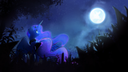 Size: 7680x4320 | Tagged: safe, artist:darkflame75, princess luna, alicorn, pony, the moon rises, beautiful, cute, ethereal mane, female, full moon, grass, looking up, mare, moon, night, scenery, solo, spread wings, starry mane, wallpaper, wings
