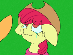 Size: 1000x750 | Tagged: safe, artist:eow, apple bloom, applejack, applejack's hat, cowboy hat, crying, floppy ears, hat, wavy mouth
