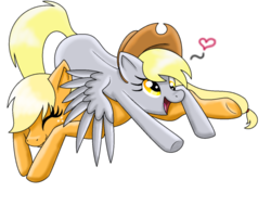 Size: 680x515 | Tagged: artist needed, safe, applejack, derpy hooves, earth pony, pegasus, pony, accessory swap, applejack's hat, cowboy hat, cute, derpabetes, derpyjack, eyes closed, female, hat, heart, lesbian, mare, pony pillow, shipping, simple background, smiling, transparent background