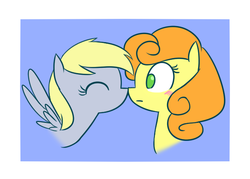 Size: 623x446 | Tagged: anonymous artist, blushing, carrot top, cute, derpibooru exclusive, derpy hooves, derpytop, female, golden harvest, lesbian, safe, shipping, simple background