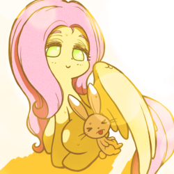 Size: 2000x2000 | Tagged: safe, artist:sigpi, angel bunny, fluttershy, pegasus, pony, rabbit, cute, duo, eyes closed, female, high res, male, mare, no pupils, shyabetes, smiling, sweat, tongue out, wing shelter
