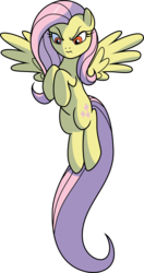 Size: 4000x7560 | Tagged: absurd res, artist:cencerberon, evil fluttershy, female, fluttershy, flying, mare, pegasus, ponies of dark water, pony, red eyes, safe, simple background, solo, transparent background