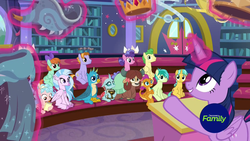 Size: 1920x1080 | Tagged: safe, screencap, auburn vision, berry blend, berry bliss, citrine spark, cozy glow, fire quacker, gallus, huckleberry, ocellus, peppermint goldylinks, sandbar, silverstream, smolder, twilight sparkle, yona, alicorn, changedling, changeling, classical hippogriff, dragon, earth pony, griffon, hippogriff, pegasus, pony, unicorn, yak, a matter of principals, amulet, amulet of aurora, bow, cloven hooves, clover the clever's cloak, crown, crown of grover, discovery family logo, dragoness, female, filly, friendship student, glowing horn, hair bow, helm of yickslur, helmet, jewelry, knuckerbocker's shell, magic, male, mare, monkey swings, necklace, regalia, shell, student six, talisman of mirage, teenager, telekinesis, twilight sparkle (alicorn), wall of tags