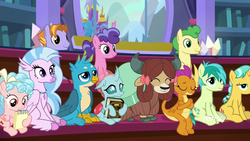 Size: 1920x1080 | Tagged: safe, screencap, auburn vision, berry blend, berry bliss, citrine spark, cozy glow, fire quacker, gallus, huckleberry, ocellus, sandbar, silverstream, smolder, yona, changedling, changeling, classical hippogriff, dragon, earth pony, griffon, hippogriff, pegasus, pony, unicorn, yak, a matter of principals, book, bow, cloven hooves, crossed arms, dragoness, eyes closed, female, filly, friendship student, hair bow, jewelry, male, monkey swings, necklace, notepad, sitting, smiling, student six, teenager