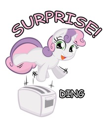 Size: 887x1024 | Tagged: safe, artist:joey darkmeat, artist:sintakhra, sweetie belle, pony, unicorn, female, filly, simple background, solo, surprised, toaster, white background