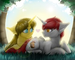 Size: 2560x2048 | Tagged: safe, artist:rico_chan, oc, oc only, oc:ayza, oc:madness, pony, unicorn, digital art, duo, ear fluff, female, grass, heart, heart eyes, high res, looking at each other, love, male, mare, oc x oc, prone, shipping, signature, sitting, stallion, straight, tree, wingding eyes, ych result