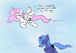 Size: 1300x900 | Tagged: safe, artist:heir-of-rick, princess celestia, princess luna, alicorn, pony, 500 miles, cewestia, cute, cutelestia, eyes closed, female, filly, lunabetes, mare, pink-mane celestia, singing, sky, song reference, the proclaimers, woona, younger