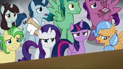 Size: 1024x576 | Tagged: safe, screencap, desert wind, dusty swift, fast break, polo play, rarity, saturn (character), sprout greenhoof, twilight sparkle, alicorn, pony, friendship university, background pony, boomerang (tv channel), las pegasus resident, rarity is not amused, twilight is not amused, twilight sparkle (alicorn), unamused