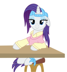 Size: 4654x5000 | Tagged: safe, artist:paganmuffin, rarity, pony, unicorn, friendship university, absurd resolution, alternate hairstyle, backwards ballcap, baseball cap, bedroom eyes, cap, clothes, eyeshadow, female, hat, makeup, mare, plainity, simple background, smiling, solo, transparent background, vector