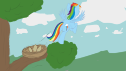 Size: 1536x864 | Tagged: artist:shaliwolf, atg 2018, behaving like a bird, egg, female, flying, mare, nest, newbie artist training grounds, pegasus, pony, rainbow dash, safe, solo, tree, tree branch