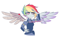Size: 1250x738 | Tagged: safe, artist:cinyanmon, rainbow dash, cyborg, equestria girls, alternate timeline, amputee, apocalypse dash, armor, augmented, clothes, crystal war timeline, female, metal wing, prosthetic limb, prosthetic wing, prosthetics, salute, signature, simple background, solo, white background, wings
