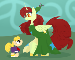 Size: 1932x1563 | Tagged: safe, artist:binkyt11, alicorn, earth pony, pony, atg 2018, bandana, betilla, body markings, clothes, colt, crossover, dress, female, foal, hooves, horn, limbless, lineless, looking at each other, male, mare, mother and son, newbie artist training grounds, pacman eyes, ponified, rayman, smiling, solo, wings
