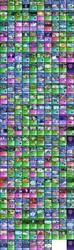Size: 7168x24345   Tagged: safe, artist:kleinespika, edit, edited screencap, screencap, aestuarium, aloe, alula, amber waves, amethyst skim, amethyst star, amethyst stone, angel bunny, apple bloom, apple brown betty, apple bumpkin, apple cinnamon, apple cobbler, apple fritter, apple honey, apple mint, apple split, apple tarty, applejack, arista, auburn vision, aura (character), bacon braids, barren hymn, beaude mane, beauty brass, berry blend, berry bliss, berry punch, berryshine, big macintosh, bittersweet (character), blaze, blue october, blueberry frosting, blueberry muffin, blues, bon bon, braeburn, bright smile, bruce mane, bubblemint, bulk biceps, burdock hooffield, burning passion, bushel, caesar, caligula (character), candy apples, candy mane, caramel apple, cardinal point, carrot bun, carrot cake, carrot top, castle (crystal pony), cerulean kingfisher, cheerilee, cheese sandwich, cherry berry, cherry cola, cherry cream, cherry fizzy, cherry spices, chief thunderhooves, citrine spark, clever musings, cloud brûlée, cloud kicker, cloudchaser, cloudy quartz, clypeus, coco crusoe, compass course, cornicle, cotton cloudy, count caesar, cracked wheat, cranky doodle donkey, crosscut mccolt, crystal arrow, crystal beau, cultivar, cup cake, currant dust, daisy, daring do, davenport, derpy hooves, descent, diamond tiara, discord, dizzy twister, dj pon-3, doctor whooves, dr. steve brule, dusk drift, eclair créme, elbow grease, emerald green, endeavour, fido, filthy rich, fire quacker, flare de mare, flash sentry, fleetfoot, fleur de verre, flitter, florina tart, flower wishes, flush typhoon, fluttershy, frederic horseshoepin, free throw, frenulum (character), fuchsia fizz, gabby, gala appleby, gallus, gardyloo, gilda, golden delicious, golden harvest, granny smith, green gem, greenhoof hooffield, greta, gummy, gunter, hacksaw mccolt, half baked apple, harry, heart pacer, hilly hooffield, hoss, huckleberry, huckleberry crush, igneous rock pie, indian summer, ivory, ivor
