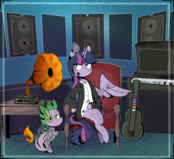 Size: 2245x2059 | Tagged: alicorn, artist:urbanqhoul, chair, clothes, dragon, duo, female, guitar, male, mare, piano, pony, safe, sitting, speakers, spike, suit, twilight sparkle, twilight sparkle (alicorn), winged spike