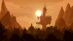 Size: 1920x1080 | Tagged: safe, artist:probaldr, background, castle, lens flare, lineless, no pony, ponyville, scenery, silhouette, sun, sunset, town, tree, twilight's castle, wallpaper