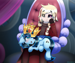 Size: 4176x3500 | Tagged: safe, artist:n0nnny, oc, oc only, oc:sky streak, human, pegasus, pony, blush sticker, blushing, braid, clothes, commission, crown, female, gloves, jewelry, looking up, mare, open mouth, regalia, smiling, throne, throne room, throne slouch