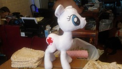 Size: 3264x1836   Tagged: safe, nurse redheart, pony, cutie mark, fabric, female, no mane, no tail, nurse, plushie, prototype, solo, wip