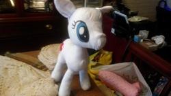 Size: 3264x1836 | Tagged: safe, nurse redheart, pony, cutie mark, eye, eyes, fabric, female, irl, no mane, no tail, nurse, photo, plushie, prototype, wip