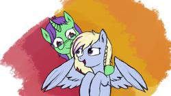 Size: 2560x1440   Tagged: safe, artist:rainb0wdashie, oc, oc only, oc:crescent star, oc:joyful surprise, pegasus, pony, unicorn