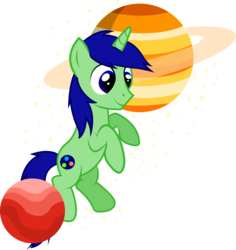 Size: 1509x1601 | Tagged: safe, artist:electrochoc, oc, oc only, oc:kosmos, unicorn, macro, male, planet, pony bigger than a planet, simple background, solo, transparent background, vector