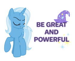 Size: 2748x2232 | Tagged: artist:flipwix, clothes, digital art, eyes closed, female, hat, inspirational, mare, motivation, motivational, pony, positive message, positive ponies, raised hoof, safe, simple background, smiling, solo, transparent background, trixie, trixie's hat, unicorn