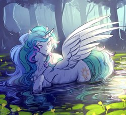 Size: 1920x1753 | Tagged: alicorn, artist:1an1, female, lilypad, mare, pond, pony, princess celestia, safe, scenery, solo, swanlestia, tree, water