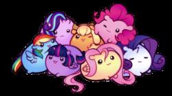 Size: 1221x678 | Tagged: safe, artist:askmlcblobs, artist:pekou, applejack, fluttershy, pinkie pie, rainbow dash, rarity, starlight glimmer, twilight sparkle, alicorn, earth pony, pegasus, pony, unicorn, :3, blob ponies, chubbie, cute, dashabetes, diapinkes, eyes closed, female, freckles, glimmerbetes, jackabetes, mane six, mare, one eye closed, open mouth, raribetes, shyabetes, simple background, transparent background, twiabetes, twilight sparkle (alicorn), wink