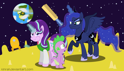 Size: 1672x964 | Tagged: safe, artist:kinrah, princess luna, spike, starlight glimmer, alicorn, dragon, unicorn, atg 2018, cheese, cricket bat, female, food, magic, male, mare, moon, newbie artist training grounds, rocket, space, sweater vest, this already ended in a trip to the moon, this will end in pain, unamused, wallace and gromit